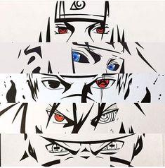 Itachi Uchiha, Minato Namikaze, Kakashi Hatake, Sasuke Uchiha and Naruto Uzumaki Naruto Kakashi, Anime Naruto, Naruto Eyes, Madara Uchiha, Naruto Shippuden Anime, Naruto Nails, Konoha Naruto, Sasunaru, Naruhina