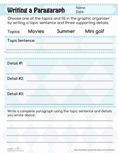 sample 3rd grade paragraph | Writing a Paragraph | Worksheet | Education.com