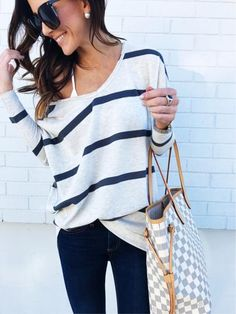 love this top! the colors, neckline, and the thin/thick stripes
