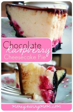 "Chocolate Rasberry Cheesecake Pie - Previous pinner said, ""You haven't tried cheesecake until you've tried this Chocolate Raspberry Cheesecake Pie. It's out-of-this-world amazing -- and SO much easier than making a regular homemade cheesecake. You've got to try it! '"