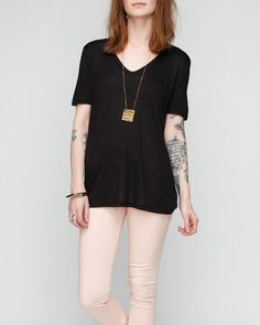 Classic Tee With Pocket In Black