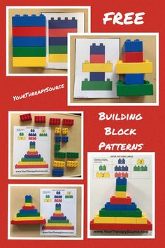 Building Block Pattern Freebie Building Block Free Sample Pages. Here are a few pages for Duplo size building blocks that are true to size. Excellent to allow children to self check their work. Progress in difficulty. Lego Activities, Educational Activities, Preschool Activities, Lego Duplo, Legos, Lego Therapy, Visual Perceptual Activities, Block Center, Lego Challenge