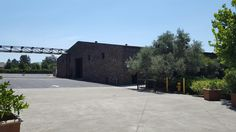 This is the former indoor riding track, it now houses wine production