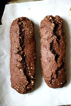These chocolate biscotti are divine. Loaded with chocolate and studded with almonds. A perfect accompaniment to a cup of coffee. Flour Recipes, Baking Recipes, Cookie Recipes, Italian Cookies, Italian Desserts, Best Biscotti Recipe, Great Recipes, Whole Food Recipes, Nine Out Of Ten