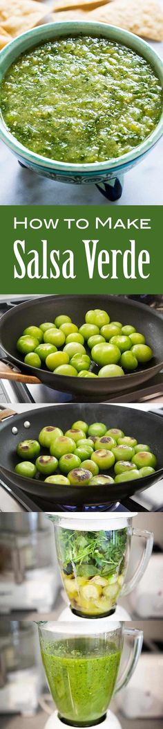 3 easy ways to make tomatillo salsa verde! A delicious Mexican green salsa made with roasted tomatillos, chile peppers, lime juice, cilantro, and onion. Make for a summer holiday gathering! Tomatillo Salsa Verde, Salsa Verde Recipe, Mexican Dishes, Mexican Food Recipes, Green Salsa, Good Food, Yummy Food, Comida Latina, Cooking Recipes