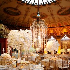 Flowers hanging from the chandelier! Can we do that?