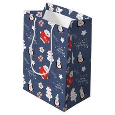 Whimsical Blue Christmas Critters Pattern Medium Gift Bag - merry christmas diy xmas present gift idea family holidays
