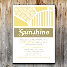 Baby Shower Invitation You Are My Sunshine By Twentythreeohone, $13.00