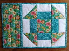 (7) Name: 'Quilting : CHURN DASH mug rug, snack mat, quilt