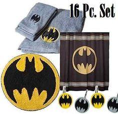 Batman Bathroom Accessory Set Shower Curtain Hooks Bath Towel HandTowel Rug