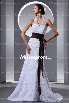 Halter V-neck Empire Waist Lace Court Train Wedding Dress With Chocolate Sash