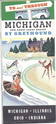 Vintage Michigan and Great Lakes Greyhound Travel Brochure Pamphlet 1937 | eBay