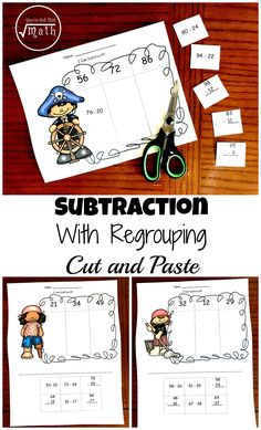 4 Activities to Practice Subtracting With Regrouping Teaching Subtraction, Teaching Math, Multiplication, Teaching Ideas, Math For Kids, Fun Math, Homeschool Math Curriculum, Online Homeschooling, Father's Day Activities