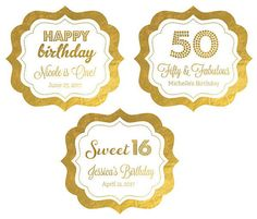 Personalized Metallic Foil Frame Labels - Birthday  Add a little sparkle and shine to your party favors and decorations with these Metallic Gold & Silver Foil Birthday Personalized Frame Labels for a memorable keepsake that are sure to leave a lasting impression. Each shiny metallic label includes two lines of personalized text and your choice of one of our fun designs to match your special event. From favor boxes to lollipops, these eye-catching frame shaped labels can be placed on almost…