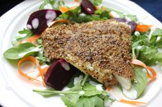 Spice-Crusted Cod with Baby Greens, Beets and Lemon-Yogurt Dressing | Not Eating Out in New York