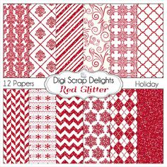 Sale Red Glitter Digital Scrapbook  Papers by DigiScrapDelights