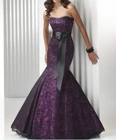 Purple Mermaid Wedding Dress Bridesmaids Evening Dress Party Prom Dress on Etsy, $139.00