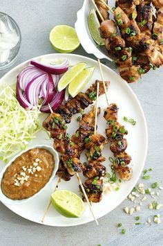 A fast and easy satay chicken with a thick peanut sauce that is perfect for dolloping rather than just dipping. Supermarket ingredients!