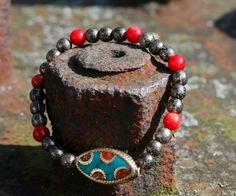 Armbänder - Stretcharmband mit Tibetschmuckelement - ein Designerstück von perlenchris bei DaWanda