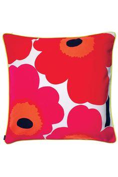 """Unikko/Varvunraita 24"""" Pillow Cover Red/Pink/White"""