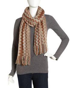 Zigzag Knit Scarf, Rust by Missoni