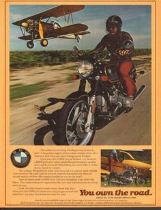 Who would win this race, the 1977 BMW Motorcycle or the CropDuster? The addiction of riding. Motos Bmw, Bmw Scrambler, Bmw Motorcycles, Vintage Motorcycles, Bmw Boxer, Marquis, Sports Car Photos, Cycle Drawing, Bmw Vintage