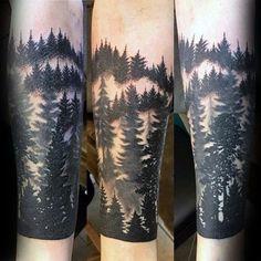 Black Ink Male Forest Sleeve Tattoo Ideas