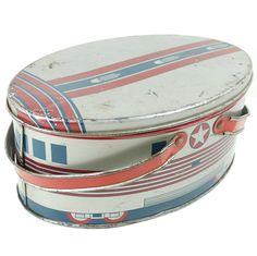 Old Vintage Tin Lunch Box Art Deco Train 1940s