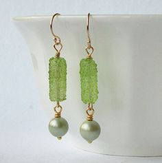 Vintage Green Dangle Earrings EcoFriendly by PeriniDesigns on Etsy, $19.00