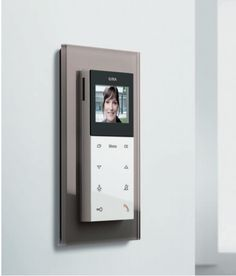 Gira Surface-Mounted Home Station Video Pure White Glossy with Gira Esprit Glass Umber Cover