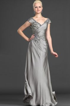 Off-the-shoulder grey gown with embroidery detailing