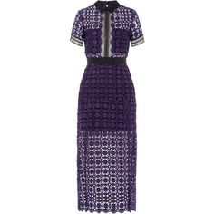 Self-Portrait Lace Midi Dress ($315) ❤ liked on Polyvore featuring dresses, purple, bandeau dress, graduation dresses, purple dress, sheer mini dress e purple leather belt