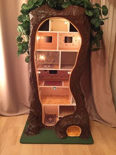 """Our three dollhouse. Made myself. Without furniture  Its like Maddie Brindley.  Idea from """"Spring Story"""" Jill Barklem"""