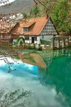 Blautopf natural spring in Blaubeuren, Germany (by Robert Slack).I so want to get to Germany to meet my Pen Pal of 26 years! She is in Western Germany.If I ever get better-this is probably one of my biggest goals. Places Around The World, Oh The Places You'll Go, Places To Travel, Places To Visit, Around The Worlds, Dream Vacations, Vacation Spots, Beautiful World, Beautiful Places