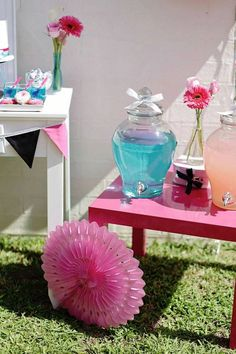 Salon Themed Birthday Party with So Many Fun Ideas via Kara's Party Ideas: drink station