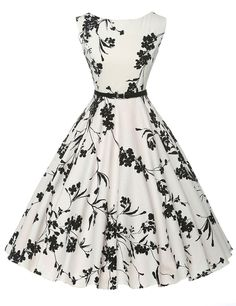 Cute Boatneck Sleeveless Vintage Tea Dress With Belt white and black