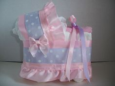 Pink Lilac Purple Polka Dots Dot Girl Diaper Bassinet Baby Shower Centerpiece | eBay