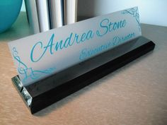 NAMEPLATE, 10 or LESS tiles, Personalized, name plate, Office Desk ...