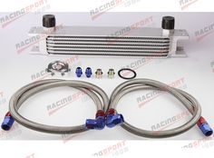 Silver Universal Engine transmission Mocal style Oil Cooler kit 7 row 10AN + filter Relocation Kit #Affiliate