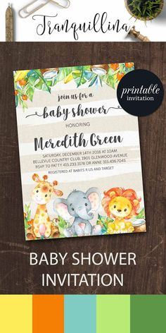 Jungle Baby Shower Invitation Printable, Safari Baby Shower Invitations, Animals Baby Shower Invite, Printable Baby Shower Invitation Boy or Girl. tranquillina.etsy.com