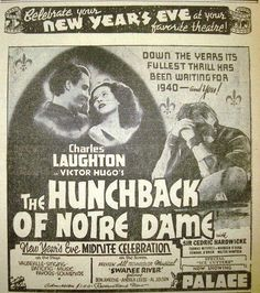 Hunchback of Notre Dame newspaper ad Maureen O'hara, Vintage Newspaper, New Years Eve, Notre Dame, Science Fiction, Nostalgia, Horror, Comic Books, Ads