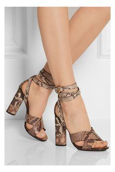 Gucci|Python sandals|NET-A-PORTER.COM