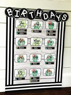 "Cactus Classroom Theme - Farmhouse  - Birthday Display - This cactus classroom decor is rich with charm! It is full of galvanized metal, shiplap, wood grains, chalkboards, lanterns, string lights, and beautiful cactus watercolors. It is sure to give you the PERFECT ""home away from home."""