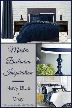 Our master bedroom needs an update, and I'm dreaming of a navy blue and gray color scheme that works with our existing dark wood furniture.