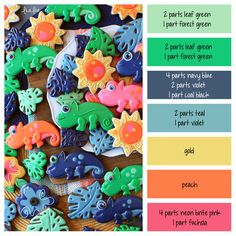 How to make tropical jungle icing colors - a cookie decorating icing color palette with formulas and ratios for mixing icing colors / royal icing color mixing guide for making chameleon sugar cookies ~ LilaLoa Color Mixing Guide, Color Mixing Chart, Color Combinations, Sugar Cookie Royal Icing, Sugar Cookies, Cookie Icing, Owl Cookies, Iced Cookies, Cookie Cutters