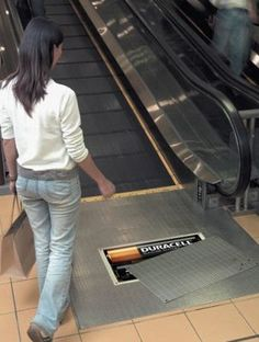 You can't miss this floor graphic by Duracell, way to stand out yet blend into the existent environment