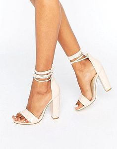 Barely there wrap around block heels by MISSGUIDED. Heels by Missguided, Faux-leather upper, Patent finish, Barely there styling, Lace-up fastening, Tie-leg design, Open...