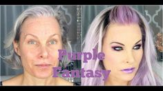 Fantasy Purple Makeup and Hair on a Mature Face