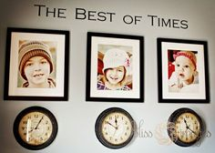 Clocks stopped at the time each child was born---love this idea!