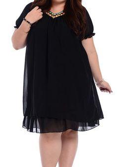V-Neck Short Sleeve Spliced Dress V Neck, Plus Size, Shirt Dress, Sleeves, Shirts, Collection, Black, Dresses, Fashion